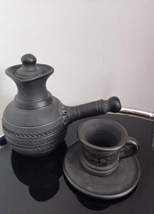 Турка, чашка с глины ручная работа опошня