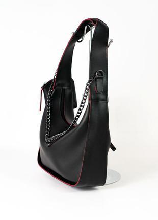Модная молодежная сумочка багет на плечо черная маленькая наплечная сумка