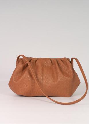 Рыжая модная сумочка пельмень с длинной ручкой на плечо светло коричневая сумка клатч