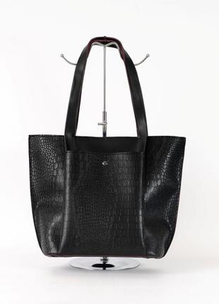 Женская деловая сумочка корзина шоппер с длинными ручками на плечо сумка под кожу крокодила