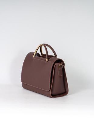 Молодежная деловая сумочка маленькая модная сумка саквояж портфель пудровая темная с ручками