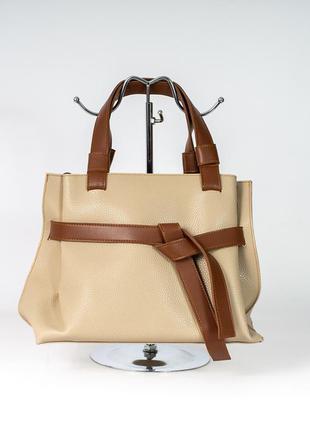 Бежевая деловая сумочка с рыжими оригинальными с ручками модная женская сумка саквояж