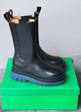 Женские черные кожаные ботинки bottega veneta boots