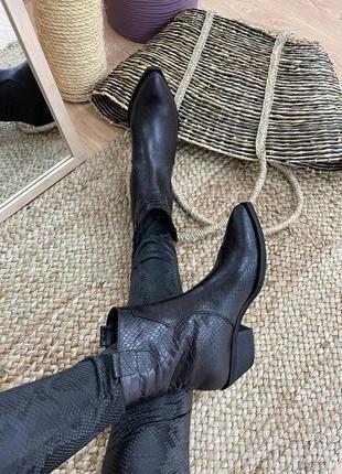 Ботинки казаки женские деми зима натуральная кожа замша
