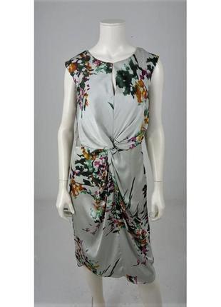 Лакшери красивое струящиеся платье с узлом , цветочный принт