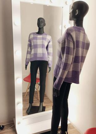 Лиловый новый мягкий свитер в клетку 💟