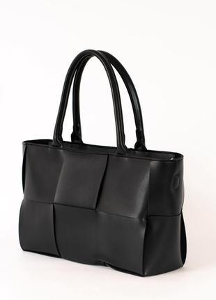 Черная деловая сумочка с ручками плетеная модная женская сумка саквояж для документов а4 ноутбука