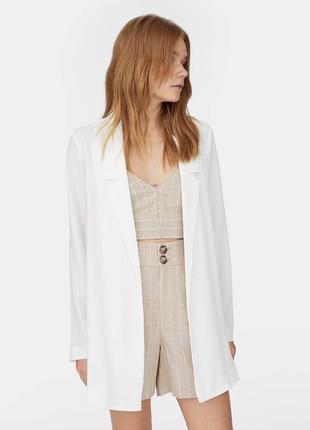 Белый удлинённый блейзер / пиджак