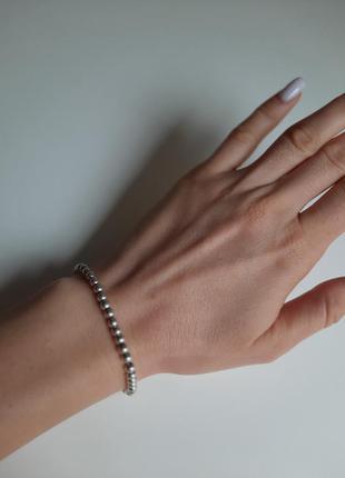 Красивый браслет серебро, шарики