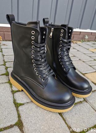 Ботинки женские деми кожзам черные осень черевики демі жіночі