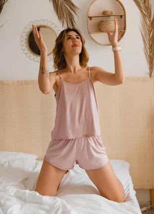 Пижама піжама комплект набор белья шортики пыльно розовый новый