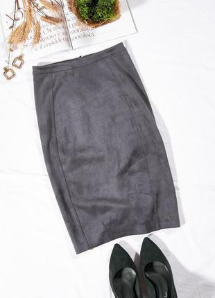 Замшевая юбка миди, серая юбка карандаш, классическая юбка офисная, спідниця