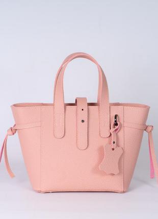 Розовая пудровая сумочка корзина шоппер с ремешком через плечо женская сумка с ручками
