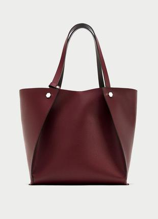 Двусторонняя сумка-шоппер с заклепками zara