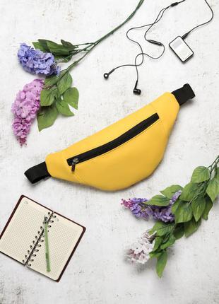 Яркая женская желтая  универсальная вместительная бананка, сумка на пояс