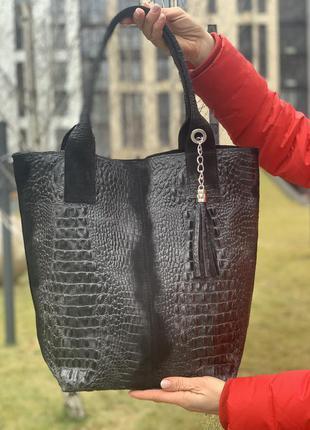 Замшевая черная сумка с печатью под крокодила, италия, цвета в ассортименте