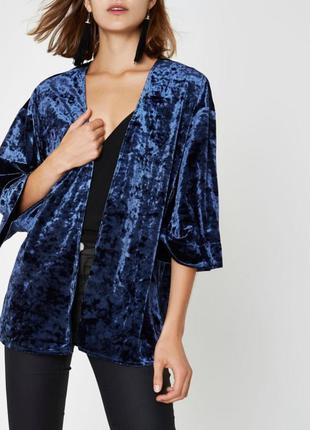 Стильный синий велюровый🔥 пиджак- кимоно,кардиган разлетайка,блейзер,river island