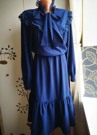 Платье темно синее с длинным рукавом. платье винтаж. стильное мега модное.