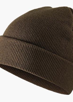 Шапка шапочка бини с заворотом мужская женская унисекс оливка хаки новая