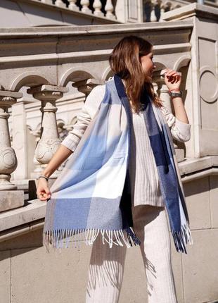 Кашеміровий шарф в клітинку синьо-бежевого кольору
