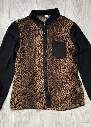 Леопардовая шифоновая блуза рубашка  с верными вставками