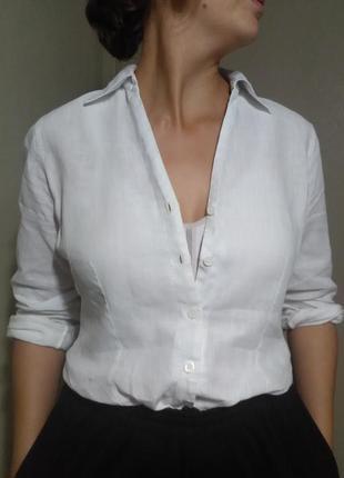 Рубашка блузка блуза лен льняная белая оверсайз свободная прямая пляж пляжная легкая  классика