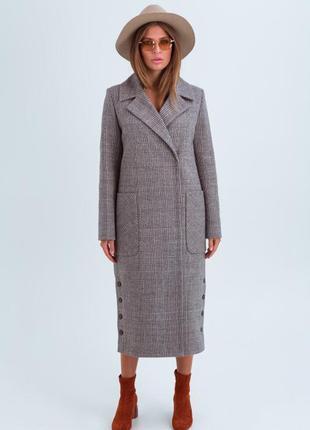 Женское демисезонное пальто в клетку «асти» коричневое