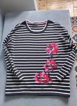 Шикарный свитер в полоску с вышивкой