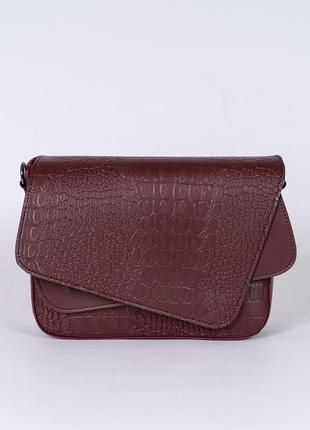 Бордовая маленькая сумочка через плечо модная мини сумка кросс боди на длинном ремешке