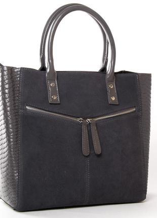 Женская сумка из натуральной кожи фасад из натуральной замши