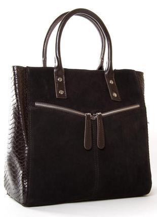 Женская сумка из натуральной кожи фасад из натуральной заиши