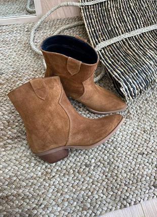 Ботинки казаки женские деми зима натуральная замша кожа