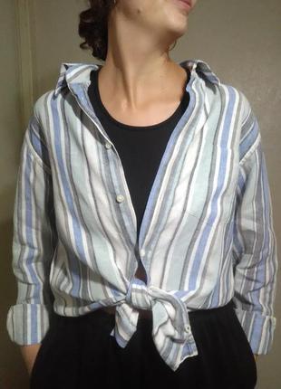 Рубашка блузка блуза лен льняная оверсайз свободная прямая белая классика пляжная полоска
