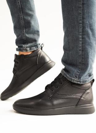 Кожаные черные ботинки (осень зима)