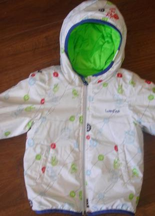 Фирменная двухсторонняя теплая деми куртка мальчику 1,5-2 лет нюанс