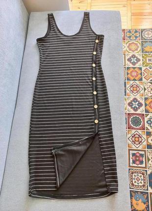 Миди платье в полоску на пуговицах