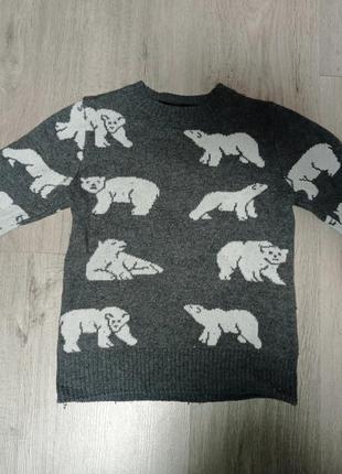 Свитео с медведями теплый свитер кофта