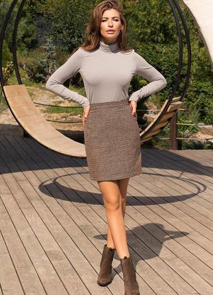 Короткая теплая юбка - твид- рисунок лапка-цвет бордо-хаки