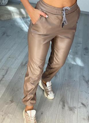 Женские брюки леггинсы джоггеры экокожа