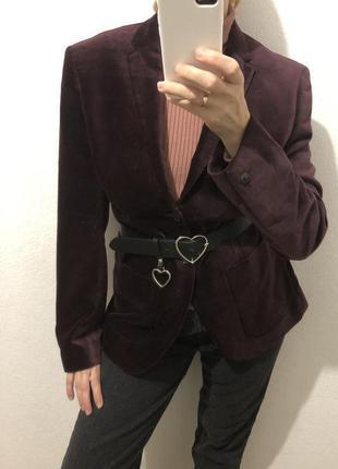 Бордовый вельветовый пиджак h&m с мужского плеча