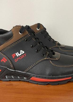 Мужские подростковые ботинки зимние черные теплые