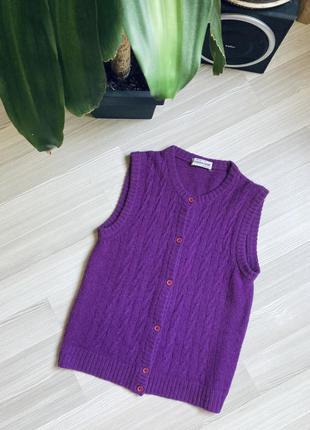 Кашемировая теплая жилетка шерстяная безрукавка италия фиолетовая