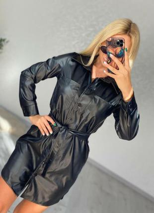Женские платья рубашки экокожа