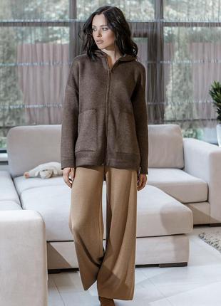Куртка кофта вязаная с капюшоном на молнии