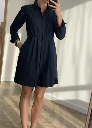 Платье-рубашка/ платье черное с длинным рукавом из нейлона