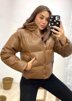 Куртка экокожа | кожаная дутая куртка