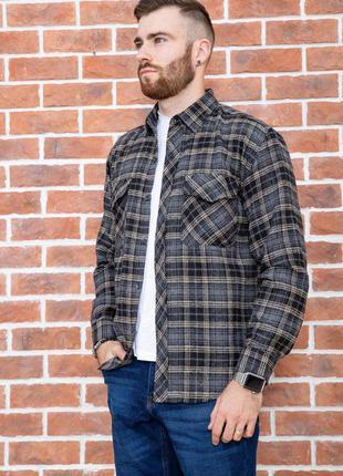 Рубашка мужская фланелевая цвет серо-бежевый шерсть + акрил  xl l 2xl 4xl