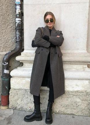 Пальто тёплое oversize zara коричневое гусиная лапка м
