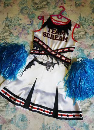 Платье на хэллоуин, карнавальный костюм зомби черлидерша