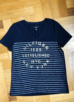 Синяя футболка tommy hilfiger размер м